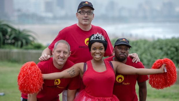 East Coast Radio presenters, Zaba (in the middle) with Damon Beard, Darren Maule and Bongani Mtolo will be positioned along each of the four routes of the Discovery East Coast Radio Big Walk on 22 May 2016, taking #HealthySelfies with participants. 30 000 people have signed up for the walk and entries have now closed.