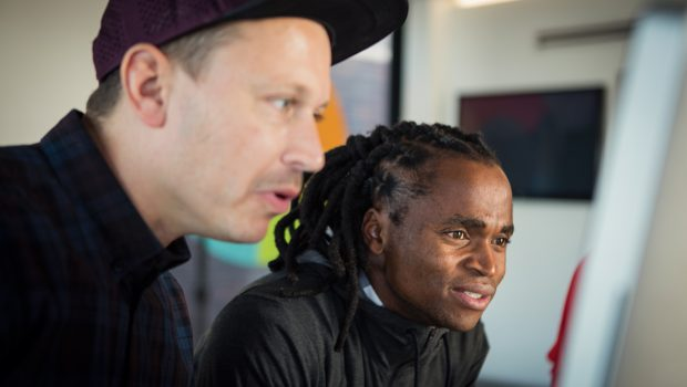 Siphiwe Tshabalala designs his trainers at the NikeiD Live Experience in Braamfontein on Monday 23 May.