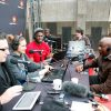 Dr Simon Dlamini, principle of Ogwini Comprehensive High School in Umlazi, being interviewed by the East Coast Breakfast team, from left: Darren Maule, Keri Maule and Sky Tshabalala. In the background are Michael Zuma and James Preston
