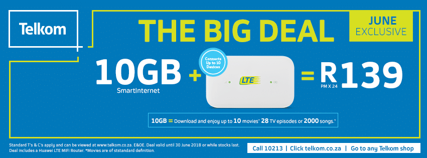 Telkom Unveils Its Big Deal For June 10gb Lte Data For R139 Digital Street